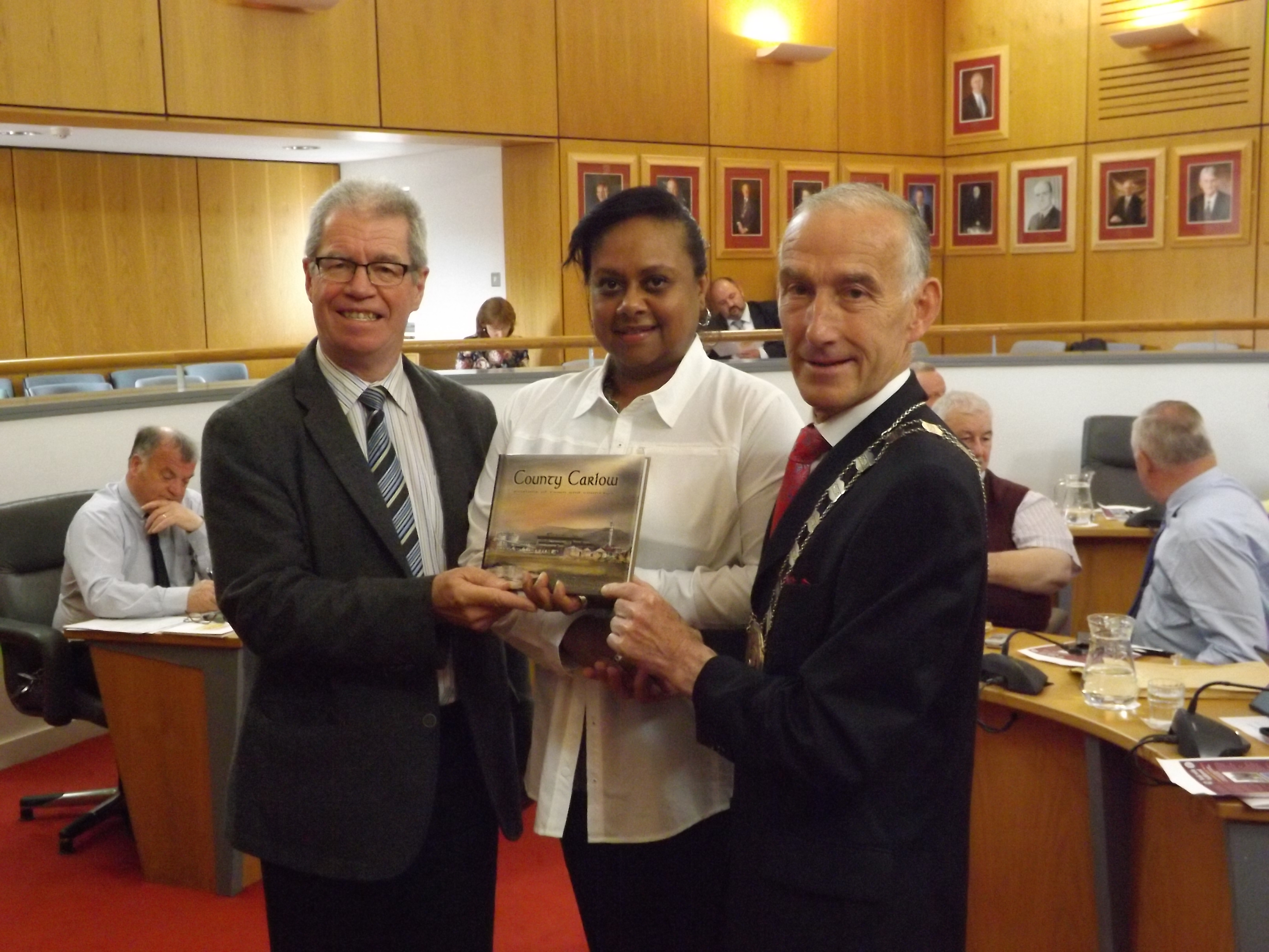 Alderman Rita Rawson being recognized by County Council leaders during Carlow County visit